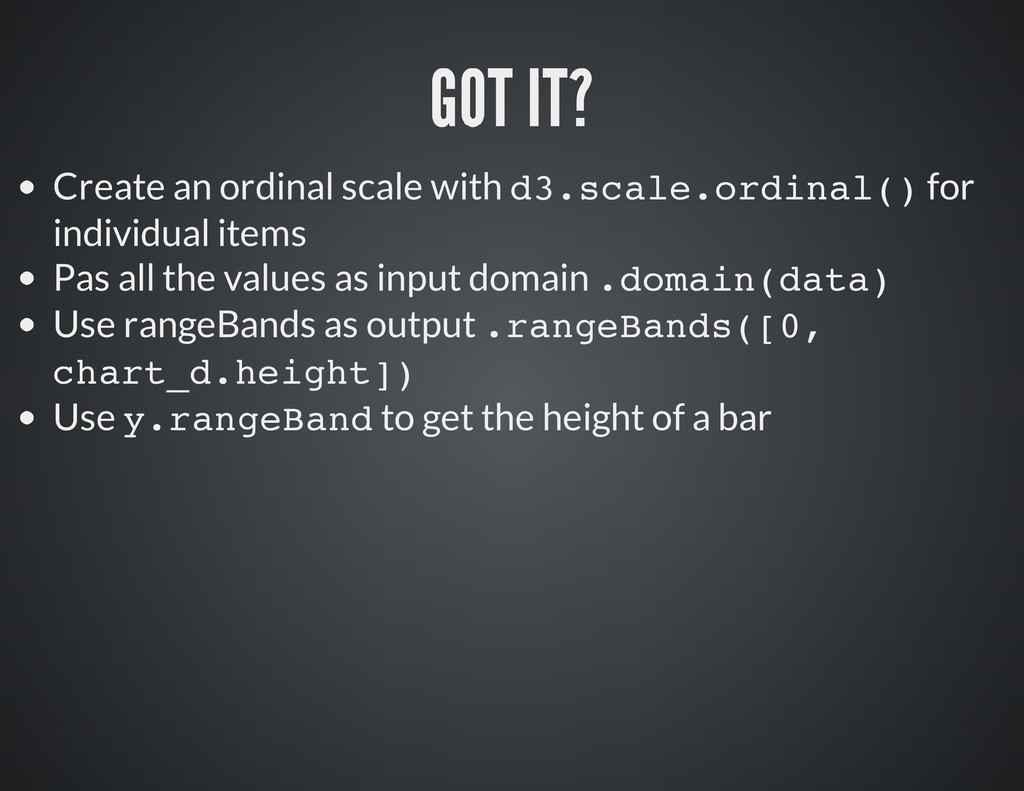 Create an ordinal scale with d 3 . s c a l e . ...