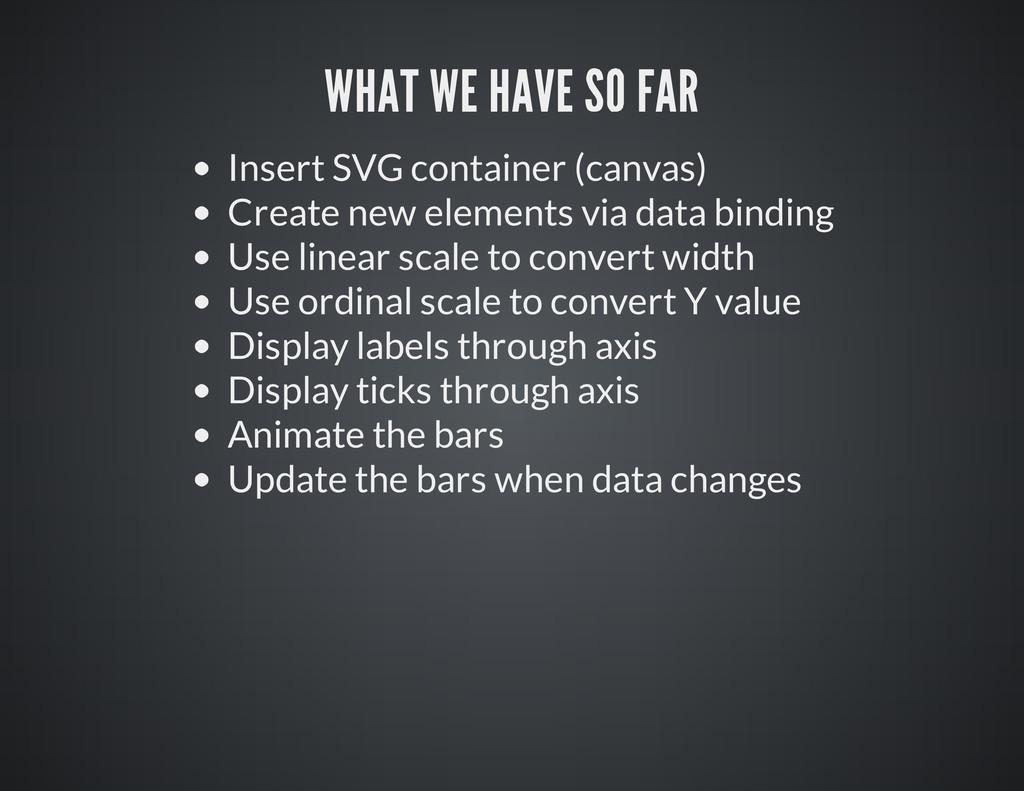 Insert SVG container (canvas) Create new elemen...