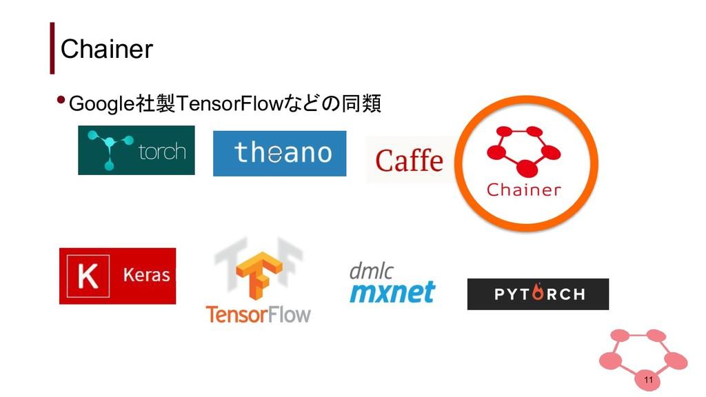 Chainer 11 •Google社製TensorFlowなどの同類