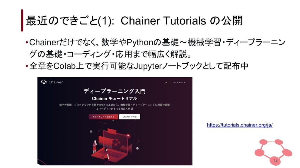 最近のできごと(1): Chainer Tutorials の公開 •Chainerだけでなく...