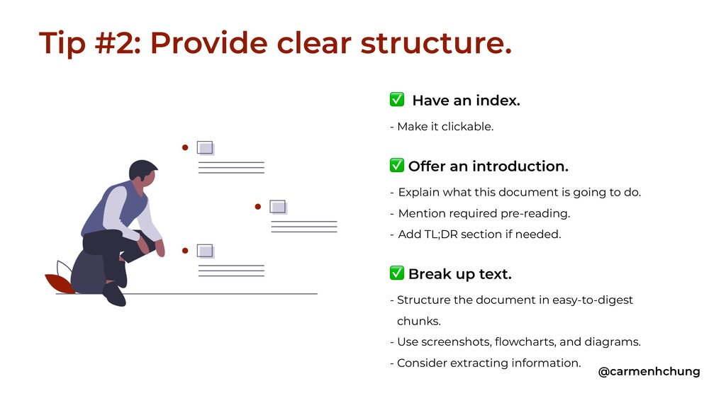 ✅ Have an index. - Make it clickable. ✅ Offer a...