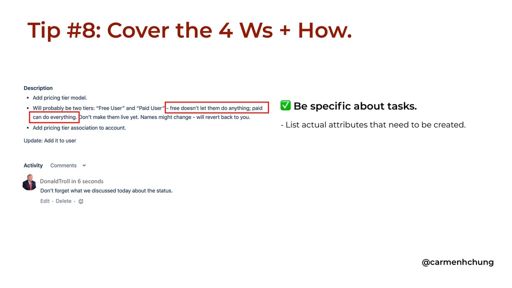 Tip #8: Cover the 4 Ws + How. @carmenhchung ✅ B...