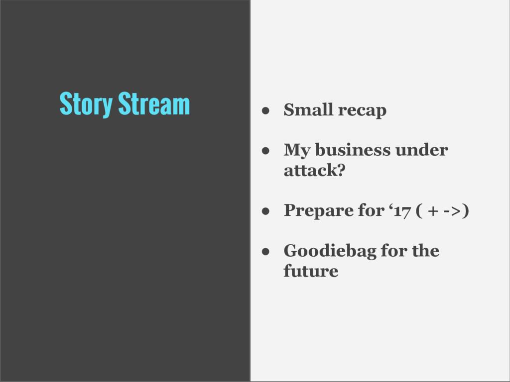 Story Stream ● Small recap ● My business under ...