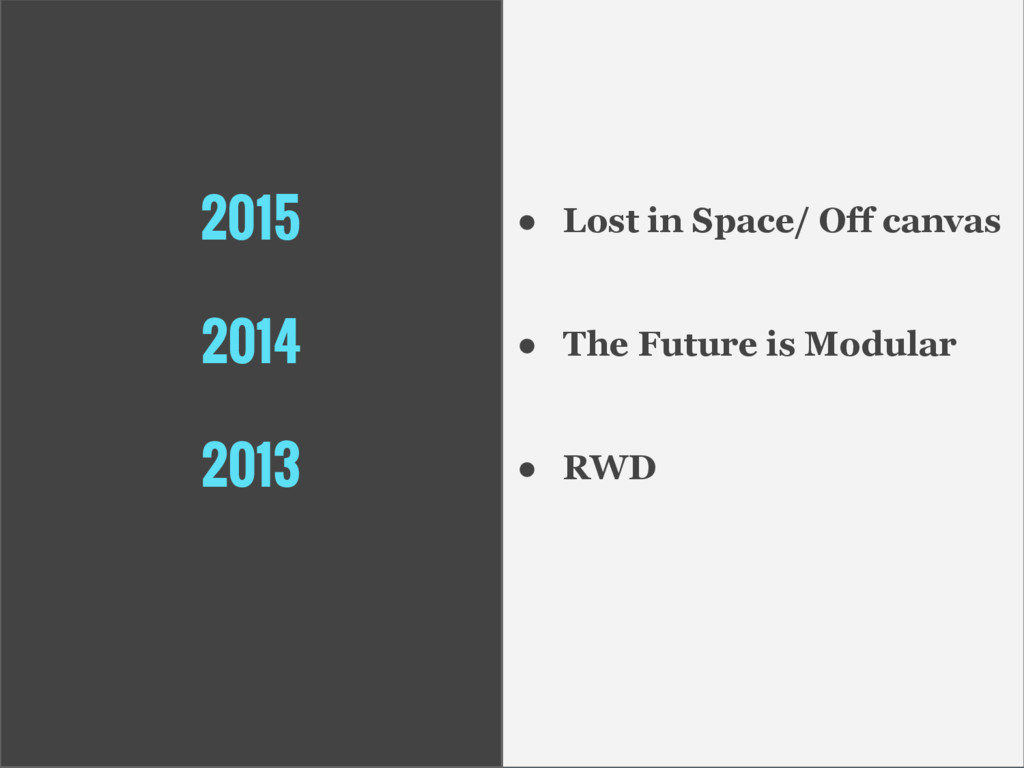 2015 2014 2013 ● Lost in Space/ Off canvas ● Th...