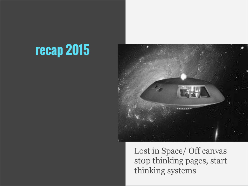 recap 2015 Lost in Space/ Off canvas st0p think...