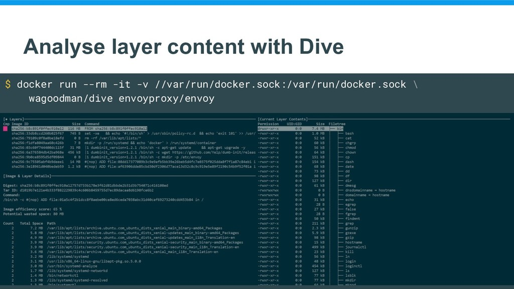 Analyse layer content with Dive $ docker run --...
