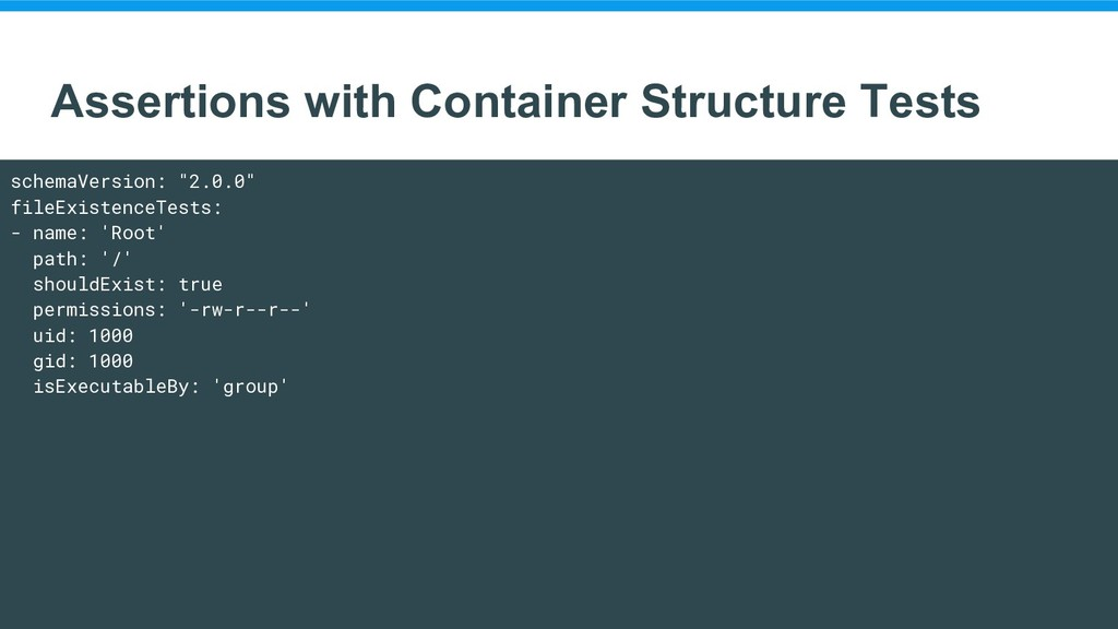 Assertions with Container Structure Tests schem...