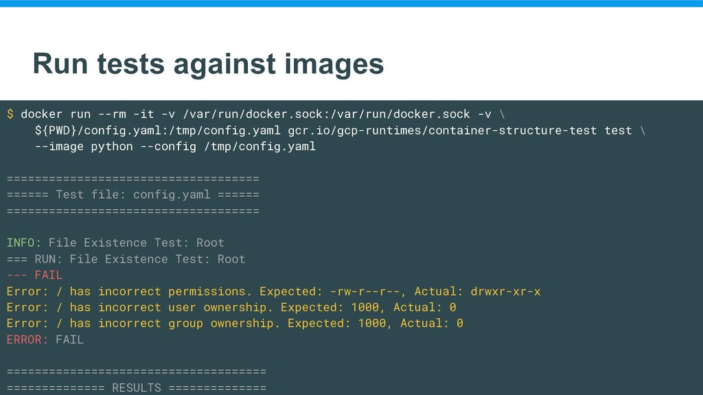 Run tests against images $ docker run --rm -it ...