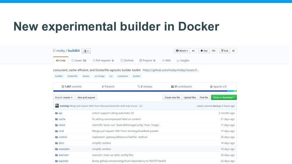 New experimental builder in Docker