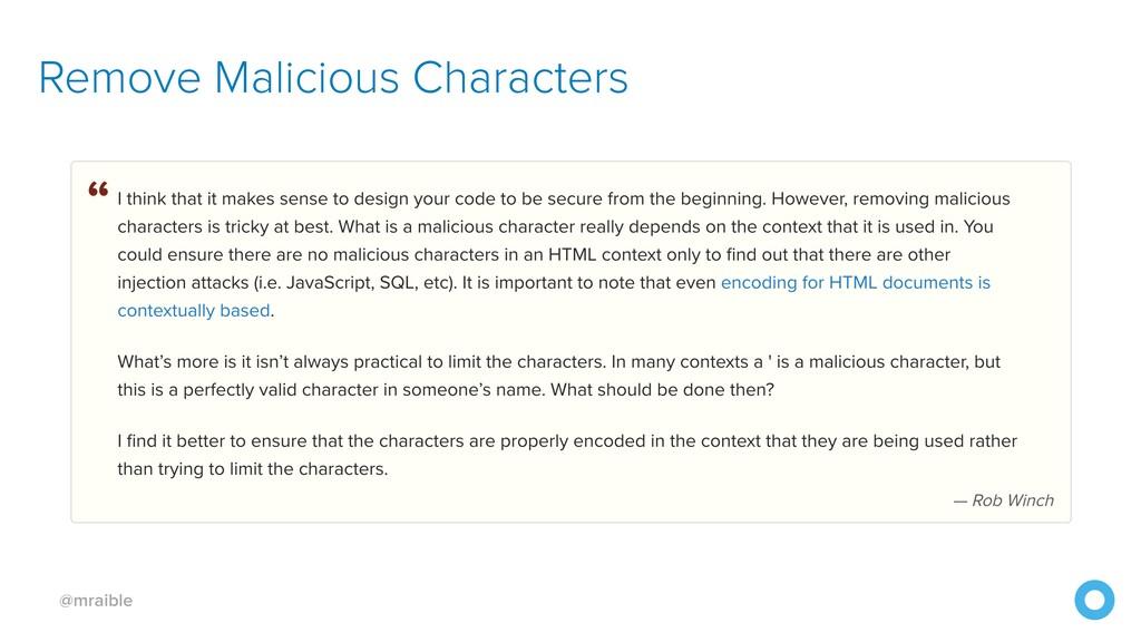 @mraible Remove Malicious Characters