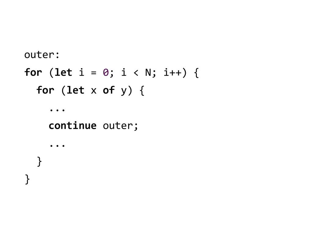 outer:  for (let i = 0; i ...
