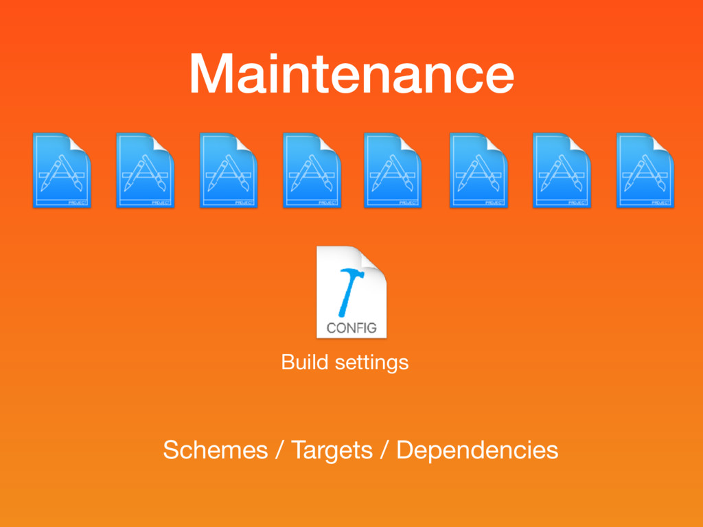 Maintenance Build settings Schemes / Targets / ...