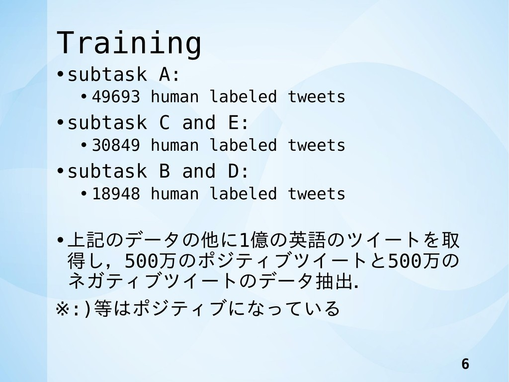 Training •subtask A: • 49693 human labeled twee...