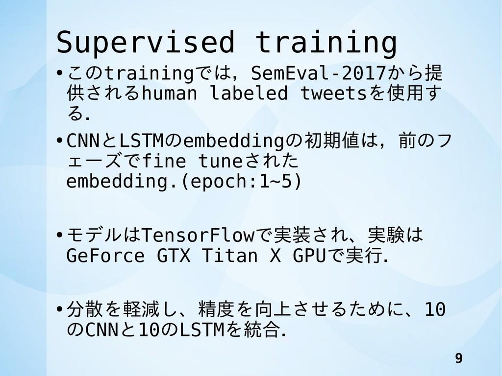 Supervised training •このtrainingでは,SemEval-2017か...