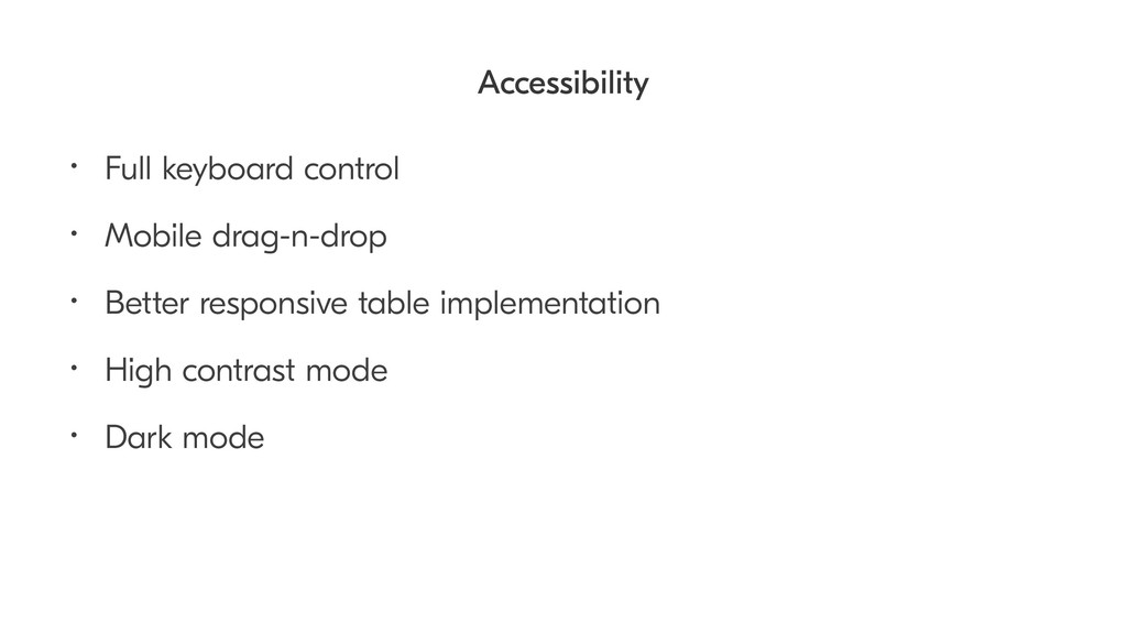 Accessibility • Full keyboard control • Mobile ...