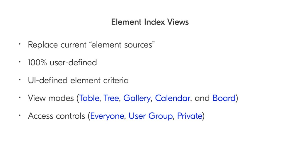 "Element Index Views • Replace current ""element ..."
