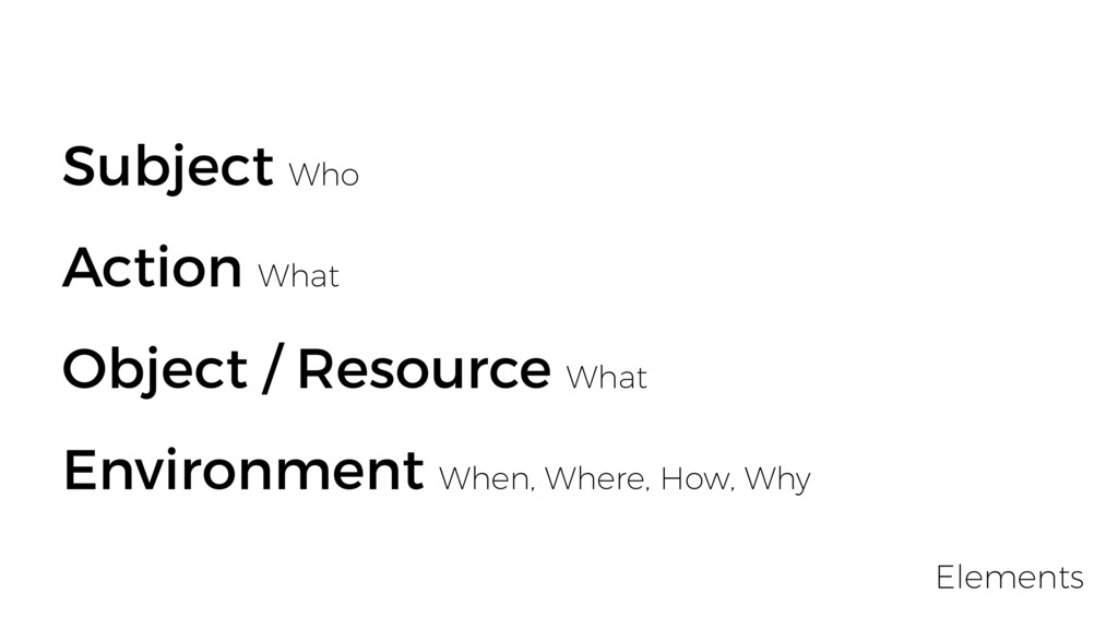 Subject Who Action What Object / Resource What ...