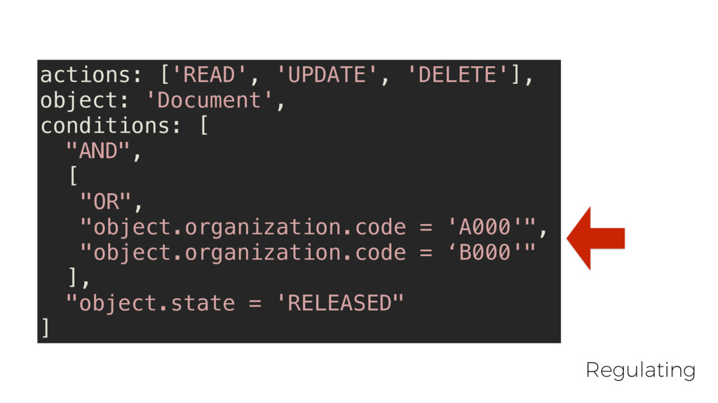 actions: ['READ', 'UPDATE', 'DELETE'], object: ...