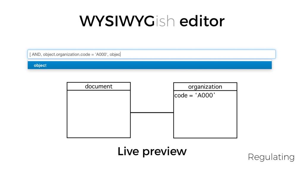 WYSIWYGish editor document organization code = ...