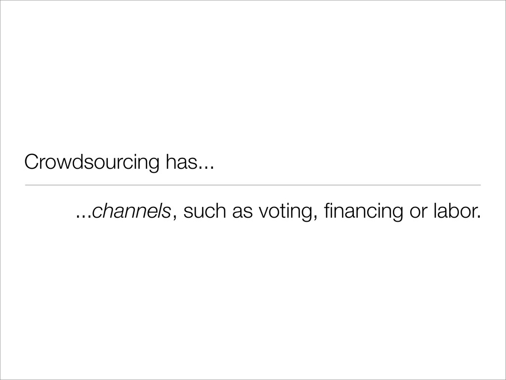 Crowdsourcing has... ...channels, such as votin...