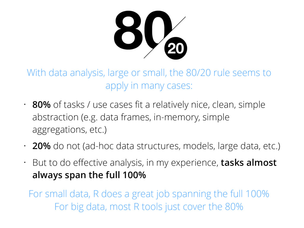 • 80% of tasks / use cases fit a relatively nice...