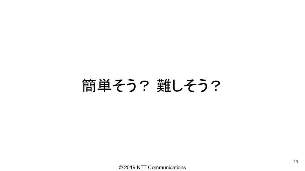 © 2019 NTT Communications 簡単そう? 難しそう? 19