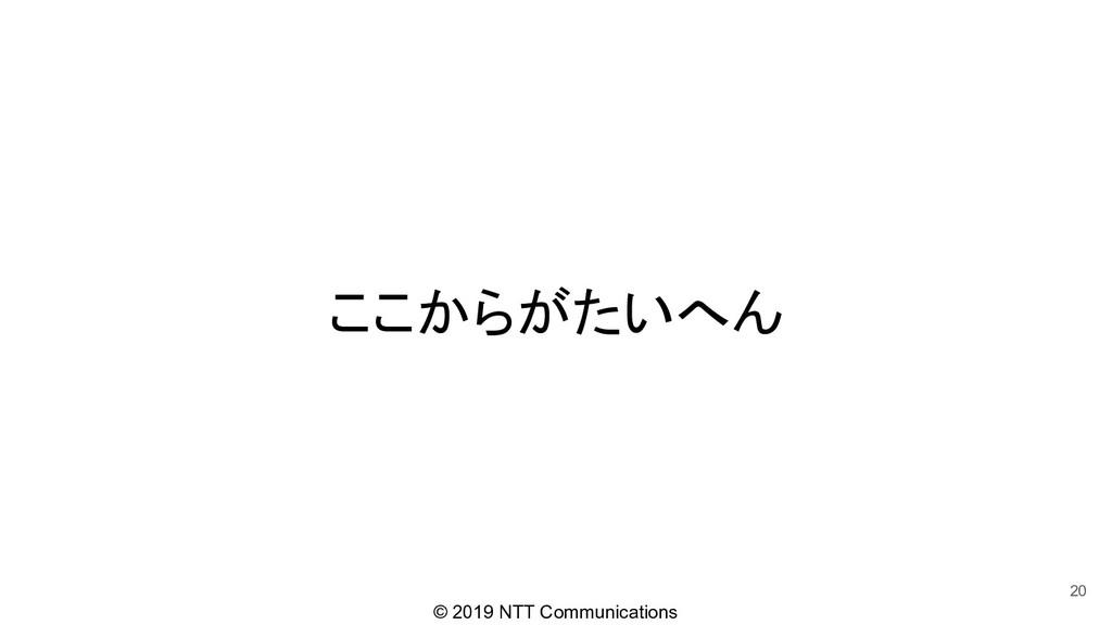 © 2019 NTT Communications ここからがたいへん 20