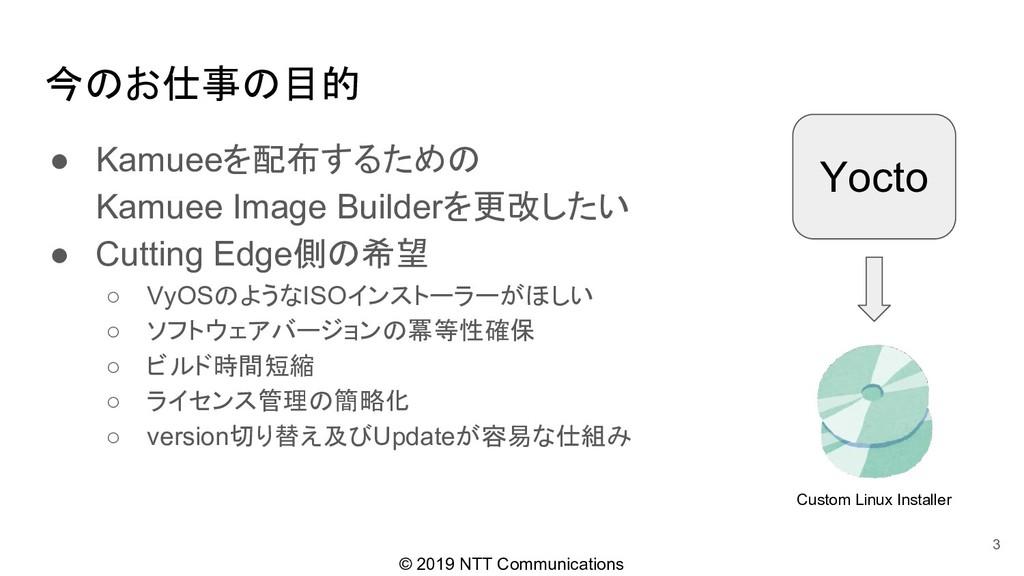 © 2019 NTT Communications 今のお仕事の目的 ● Kamueeを配布す...