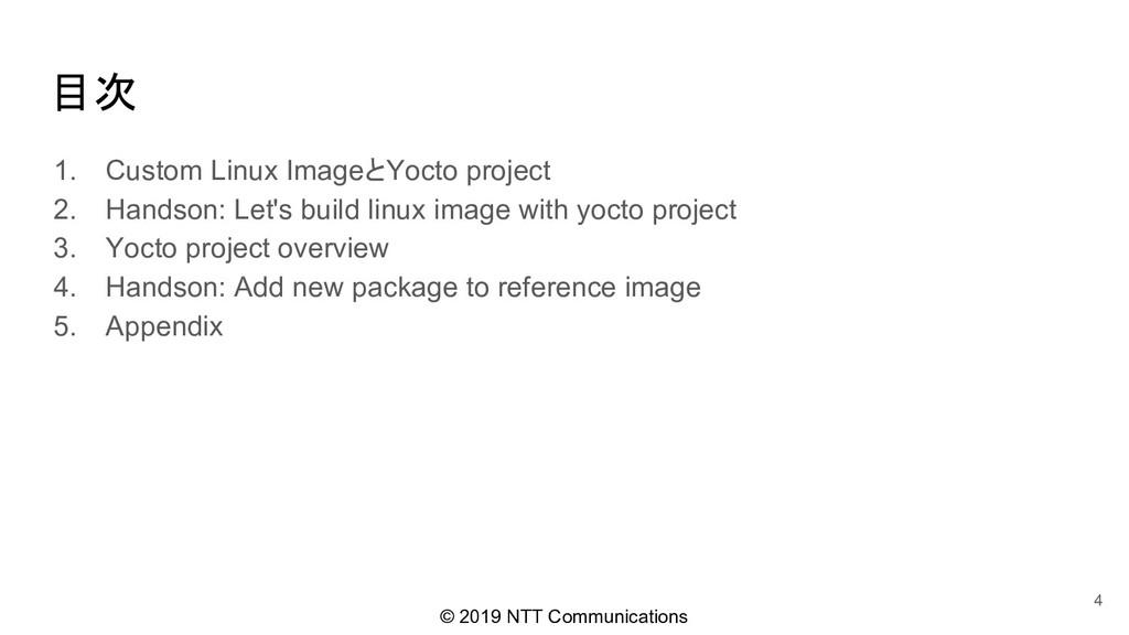 © 2019 NTT Communications 目次 1. Custom Linux Im...