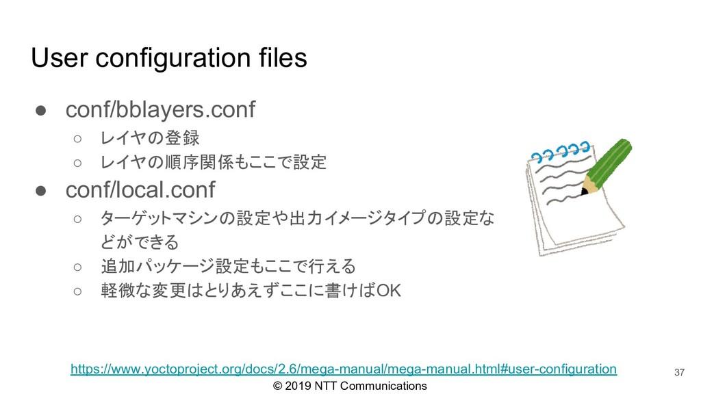 © 2019 NTT Communications User configuration fi...
