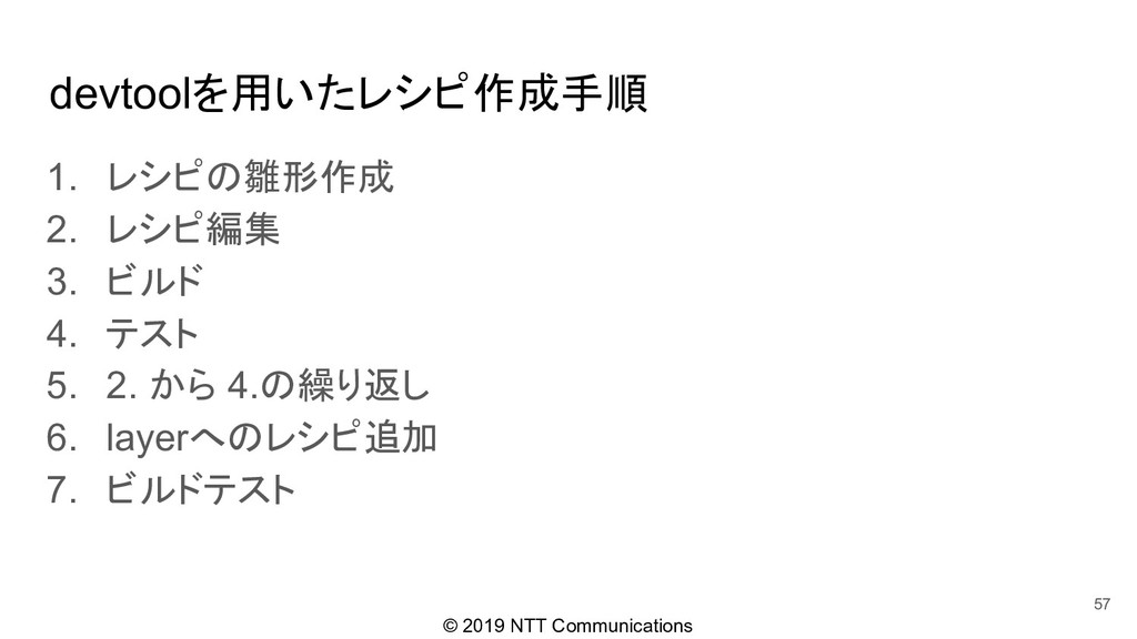 © 2019 NTT Communications devtoolを用いたレシピ作成手順 1....