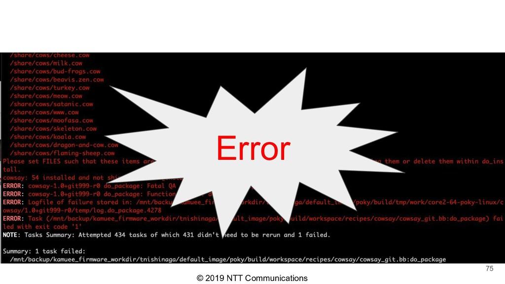 © 2019 NTT Communications 75 Error