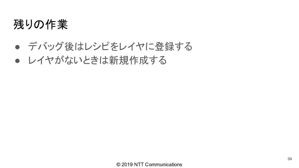 © 2019 NTT Communications 残りの作業 ● デバッグ後はレシピをレイヤ...