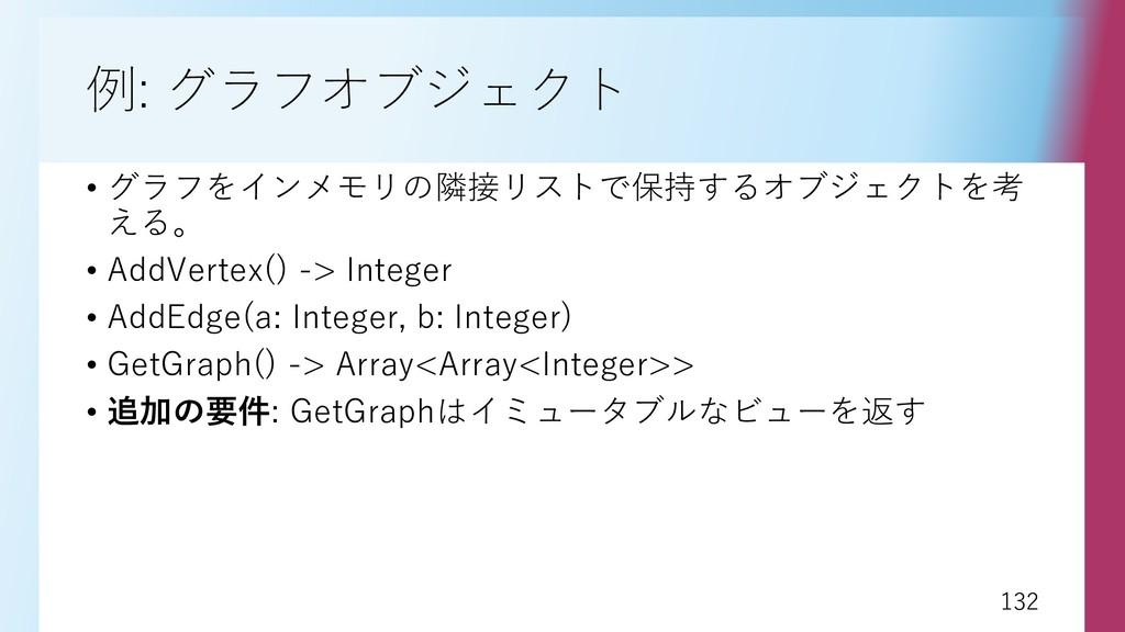 132 132 例: グラフオブジェクト • グラフをインメモリの隣接リストで保持するオブジェ...