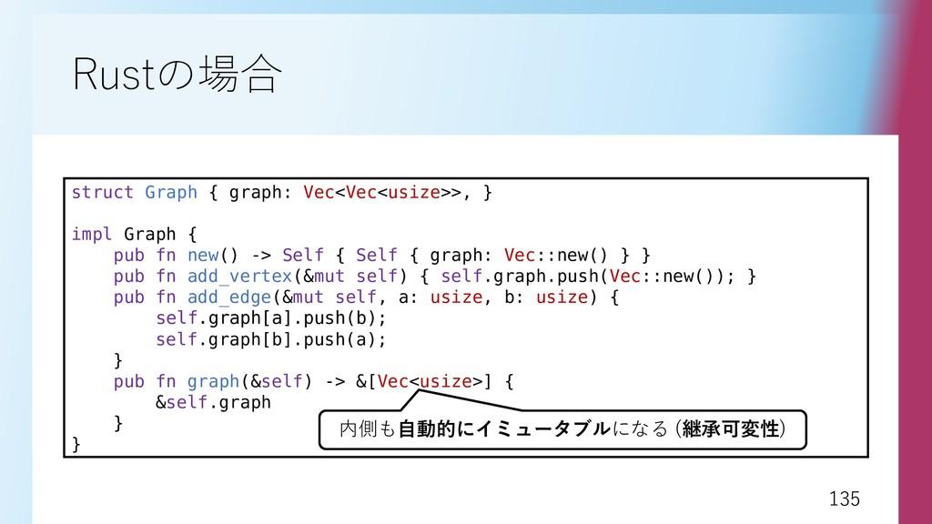 135 135 Rustの場合 struct Graph { graph: Vec<Vec<u...