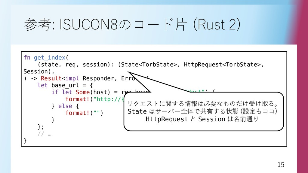 15 15 参考: ISUCON8のコード片 (Rust 2) fn get_index( (...