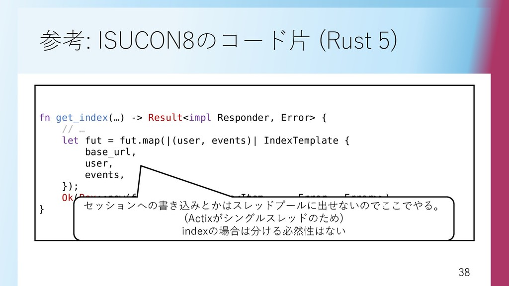 38 38 参考: ISUCON8のコード片 (Rust 5) fn get_index(…)...