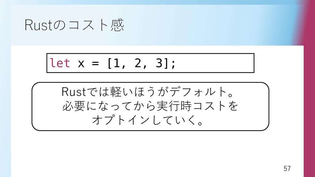 57 57 Rustのコスト感 let x = [1, 2, 3]; Rustでは軽いほうがデ...