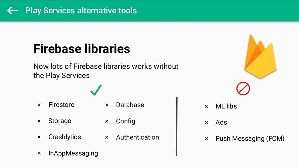 Play Services alternative tools × Firestore × S...