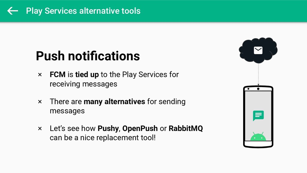 Play Services alternative tools × FCM is tied u...