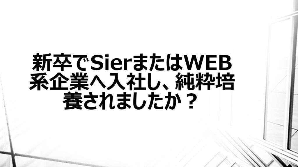 新卒でSierまたはWEB 系企業へ入社し、純粋培 養されましたか?