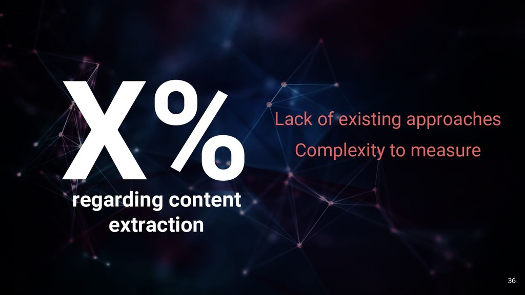 36 X% regarding content extraction Lack of exis...