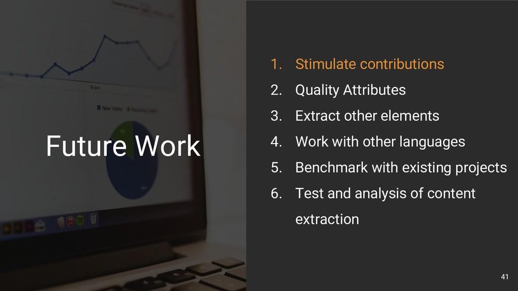 41 1. Stimulate contributions 2. Quality Attrib...