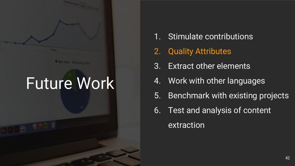 42 1. Stimulate contributions 2. Quality Attrib...