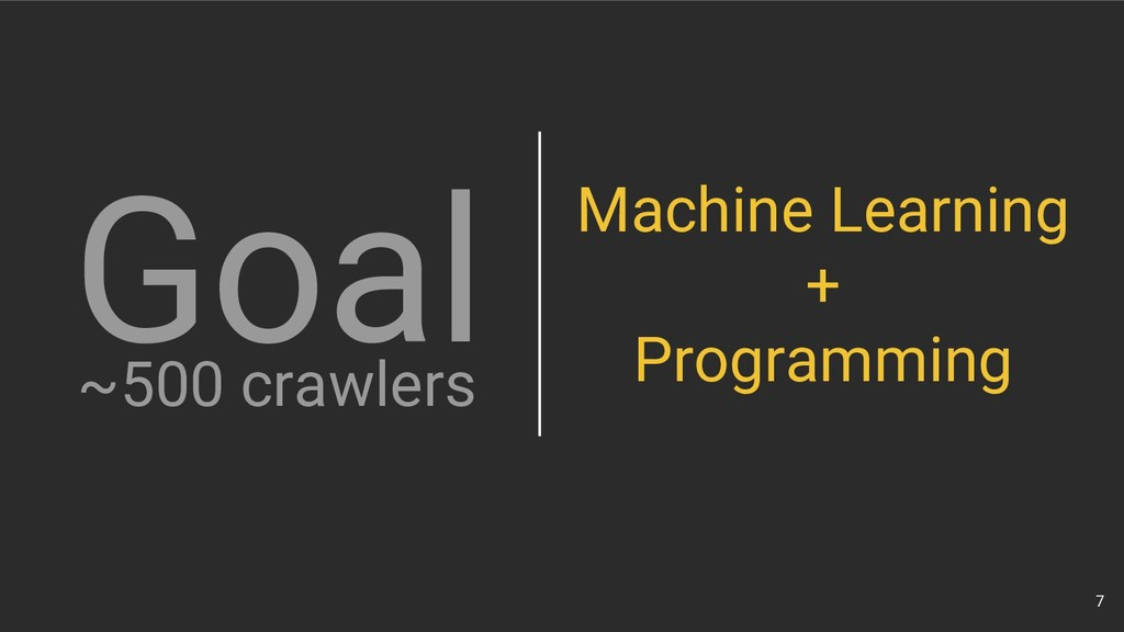 7 ~500 crawlers Goal Machine Learning + Program...