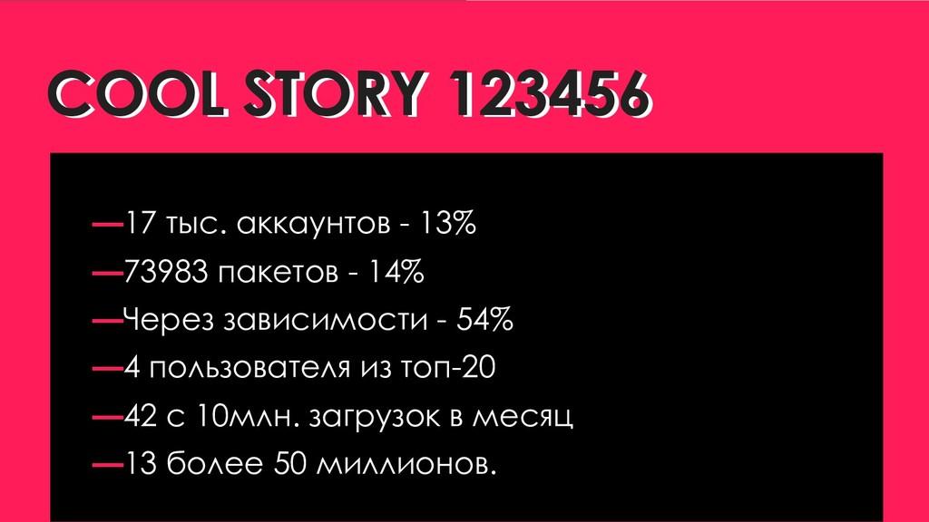COOL STORY 123456 COOL STORY 123456 —17 тыс. ак...