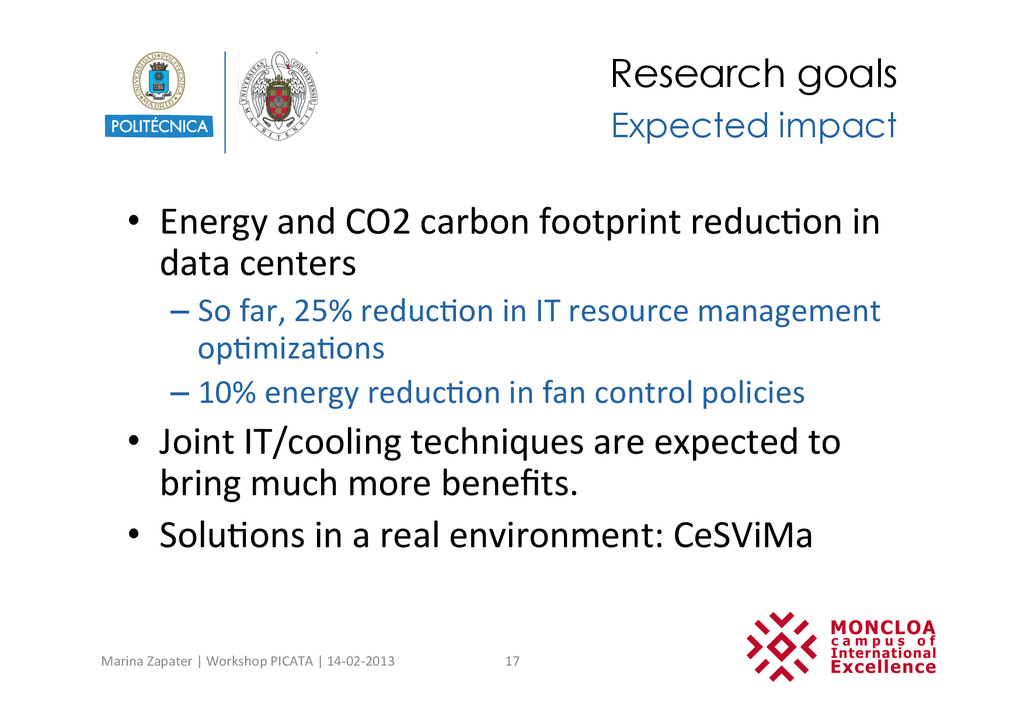 Research goals •  Energy	