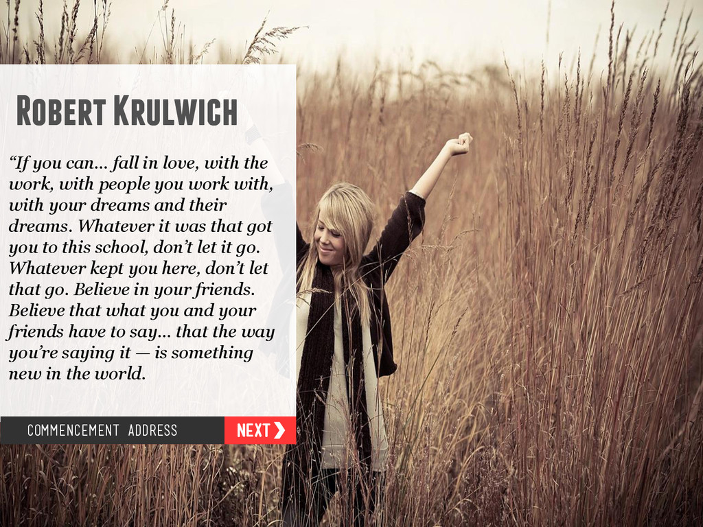 """Robert Krulwich """"If you can… fall in love, with..."""