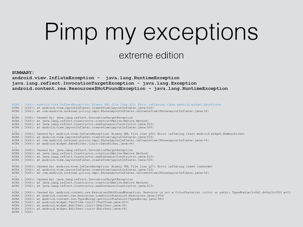 Pimp my exceptions extreme edition SUMMARY: and...