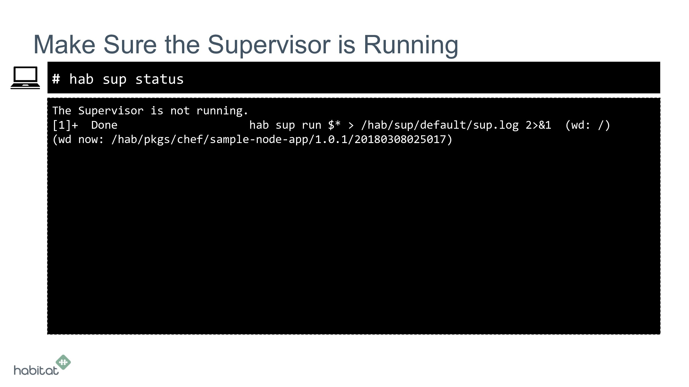 # The Supervisor is not running. [1]+ Done hab ...